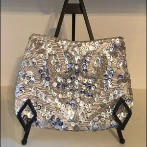 Vintage Silver Beaded & Sequin Clutch